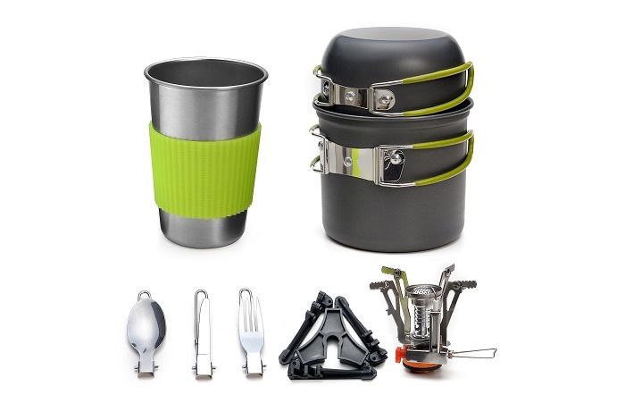 Overmont DS 300 Set Campeggio Pentole Utensili da Cucina Outdoor Bollitore Padella Pentola Portabile per Picnic Campeggio Trekking Escursione 1 3